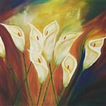تابلو نقاشی رنگ روغن گالری مهشید طرح گل شیپوری انتزاعی