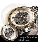 ALPS Men s Luxury Classic Skeleton Mechanical Stainless Steel Watch