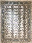 فرش مشهد اردهال ۱۲۰۰ شانه طرح خشتی کد ۸۳ کرم رنگ