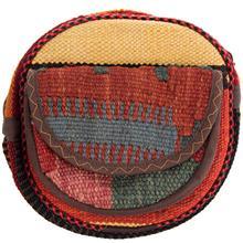 کیف دوشی گرد گالری ماد طرح ترکیب گلیم و جاجیم طرح 2 کد MAD 55 003