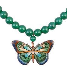 گردنبند مسی پشت و رو مینا گالری آراسته کد 181047 طرح پروانه
