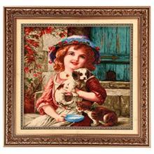 تابلو فرش چله ابریشم گالری مثالین طرح دختربچه کد 25043