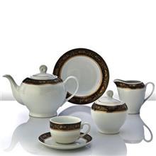 سرويس چيني 12 پارچه چاي خوري چيني زرين ايران سري ايتاليا اف مدل ميدنايت درجه يک