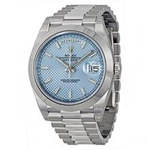 ساعت مچی مردانه رولکس اتوماتیک Rolex Day-Date Automatic Ice Blue Dial Platinum Mens Watch 228206 IBLSP