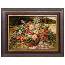 تابلو فرش گالری سی پرشیا طرح گل با سبد کد 911002