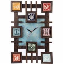 ساعت دیواری گالری اسعدی مدل چوب و سفال طرح زمینه فیروزه ای