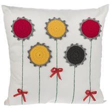 کوسن گالری دکوداریس مدل ترکیب پارچه و بافتنی طرح پنج گل