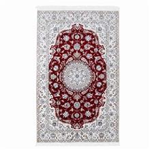 فرش دستبافت گل ابريشم گالري سلام مدل 182002 طرح لچک و ترنج