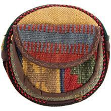 کیف دوشی گرد گالری ماد طرح ترکیب گلیم و جاجیم طرح 11 کد MAD 55 003