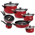 Zarsab GT7580G Cookware Set 12 Peices With 1 Spatula