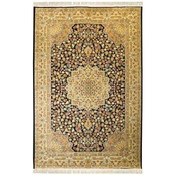 فرش ماشینی پرنا طرح رز زمینه مشکی