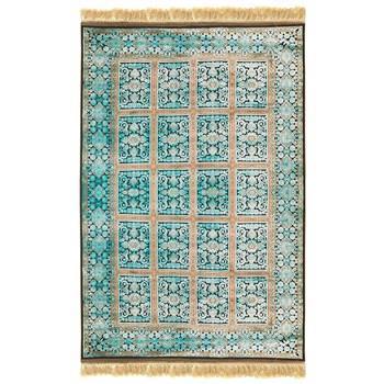 فرش ماشینی پرنا طرح بیژن زمینه آبی