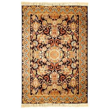 فرش ماشینی پرنا طرح سوگند زمینه قهوه ای