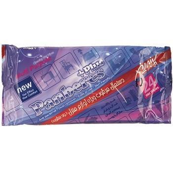دستمال مرطوب پاک کننده لوازم منزل پنبه ريز مدل Plus بسته 24 عددي