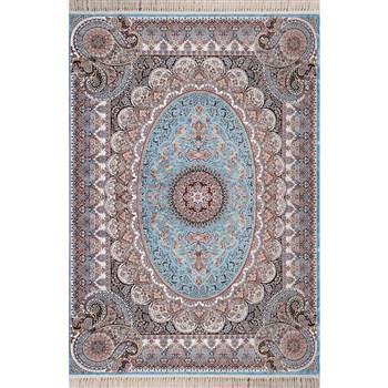 فرش ماشینی شاهکار صفویه طرح ترمهزمینه آبی