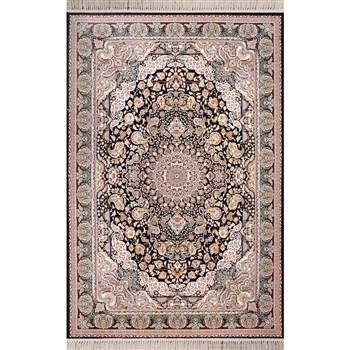 فرش ماشینی شاهکار صفویه طرح آفرینش زمینه مشکی