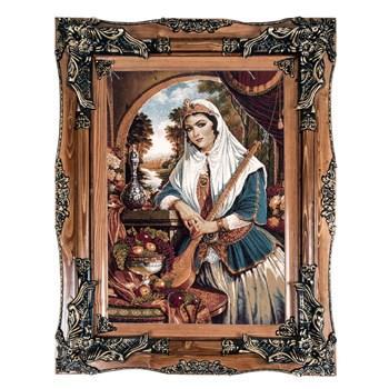 تابلو فرش ماشینی دنیای فرش طرح دختر قاجار کد 109