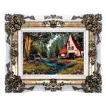 تابلو فرش ماشینی دنیای فرش طرح خانه ای در جنگل کد 128