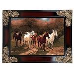 تابلو فرش ماشینی دنیای فرش طرح اسب های وحشی کد 162