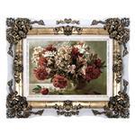 تابلو فرش ماشینی دنیای فرش طرح گل با گلدان کد 156