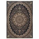 فرش ماشینی دنیای فرش طرح نگار زمینه سورمه ای
