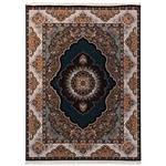 فرش ماشینی دنیای فرش طرح اطلسی زمینه سورمه ای