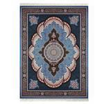 فرش ماشینی داریوش طرح آرشیدا زمینه آبی فیروزه ای