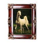 تابلو فرش دستبافت سرزمین فرش طرح اسب طوسی سفید کد 207049