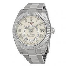 ساعت مچی مردانه رولکس اتوماتیک Rolex Sky Dweller Ivory Roman Dial GMT 18k White Gold Mens Watch 326939IVRO
