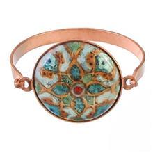 دستبند مسی صفحه محدب کد 181012 طرح ماهی