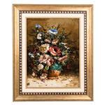 تابلو فرش گالری سی پرشیا طرح گل با گلدان سفالی کد 901172