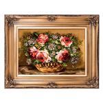 تابلو فرش گالری سی پرشیا طرح گل 5 شاخه رز در گلدان کد 901185