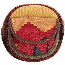کیف دوشی گرد گالری ماد طرح ترکیب گلیم و جاجیم طرح 5 کد MAD 55 003