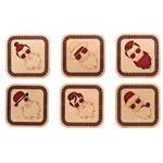 زیر لیوانی چوبی سکرو طرح پسر کد 194003 - مجموعه شش عددی