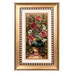 تابلو فرش گالری سی پرشیا طرح گل رز در گلدان کد 901193