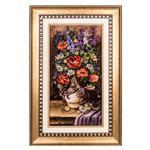 تابلو فرش گالری سی پرشیا طرح گل رز و بابونه در گلدان کد 901196