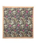 روسری نخی گلدار زنانه مشکی نسکافهای Rosetti