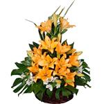 Mita Alstroemeria And Lilium Fresh Flower Basket