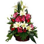 Mita Alstroemeria And Lilium Fresh Flower Basket