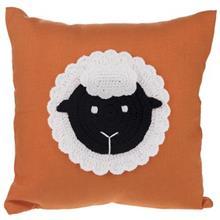 کوسن گالری دکوداریس مدل ترکیب پارچه و بافتنی طرح گوسفند