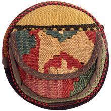 کیف دوشی گرد گالری ماد طرح ترکیب گلیم و جاجیم طرح 16 کد MAD 55 003