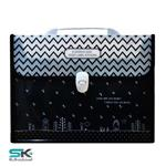 Expanding file bag with lock No.FQB-331-Zig Zag
