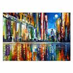 تابلو شاسی ونسونی طرح Rainy Street سایز 50 × 70