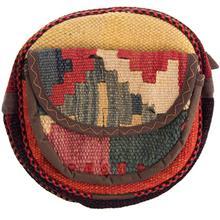 کیف دوشی گرد گالری ماد طرح ترکیب گلیم و جاجیم طرح 14 کد MAD 55 003