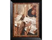معرق چوب، پرنده سینه سرخ Robin Bird