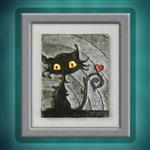 نقاشی برجسته طرح فانتزی گربه براق