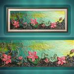 نقاشی برجسته طرح فانتزی گل و ریشه