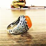 انگشتر عقیق پرتقالی با رکاب شبکه ای بسیار زیبا