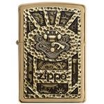 فندک زیپو مدل Steampunk Box Emblem Brushed Brass کد 29103