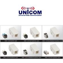 Unicom RJ-45 CAT-6A Shielded Shuttered Surface Socket (Shielded Keystone+Surface Box)